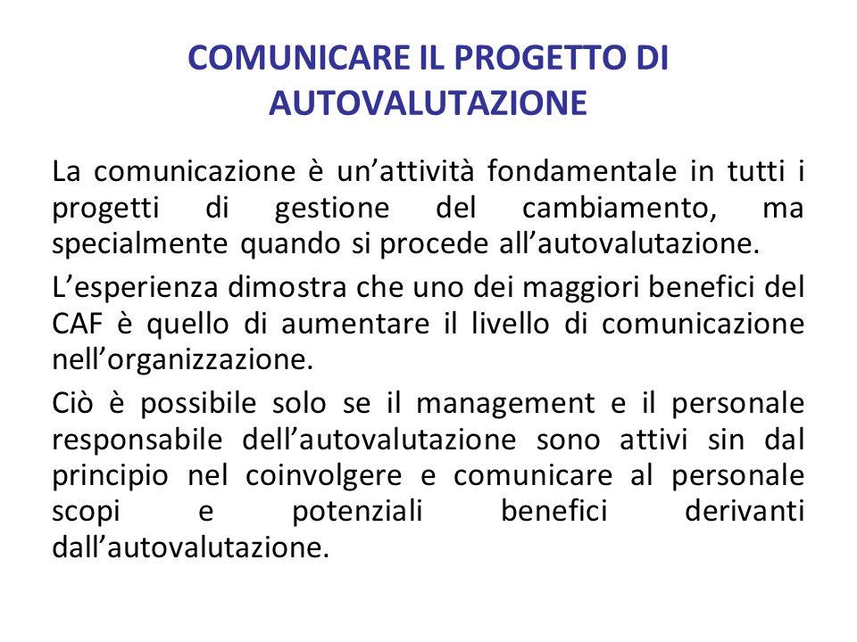 COMUNICARE IL PROGETTO DI AUTOVALUTAZIONE La comunicazione è unattività fondamentale in tutti i progetti di gestione del cambiamento, ma specialmente