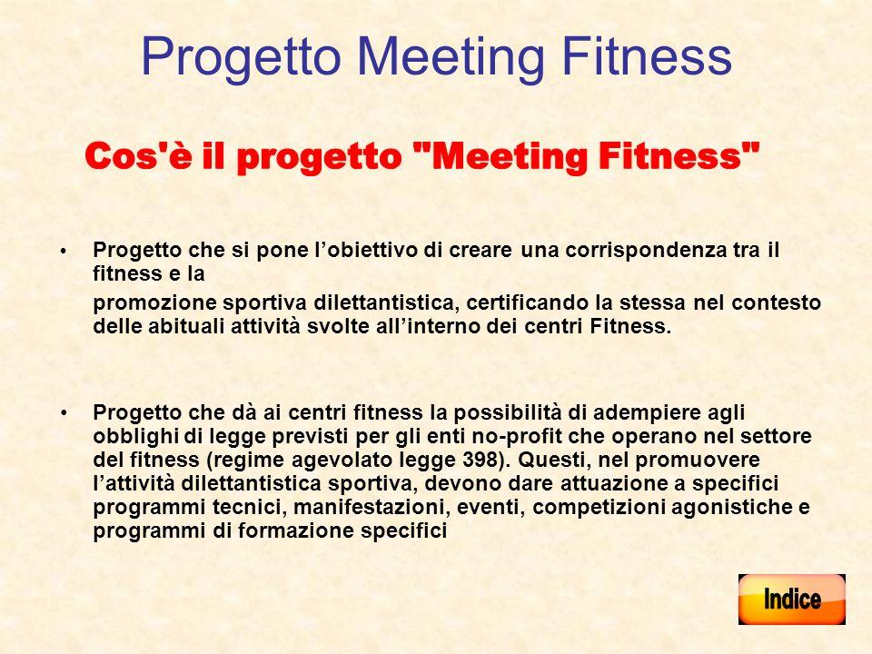 Progetto Meeting Fitness Progetto che si pone lobiettivo di creare una corrispondenza tra il fitness e la promozione sportiva dilettantistica, certifi
