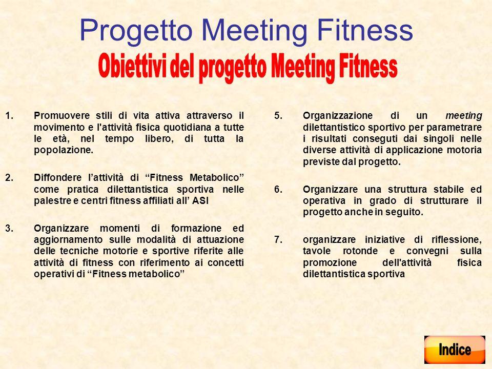 Progetto Meeting Fitness 1.Promuovere stili di vita attiva attraverso il movimento e l attività fisica quotidiana a tutte le età, nel tempo libero, di tutta la popolazione.