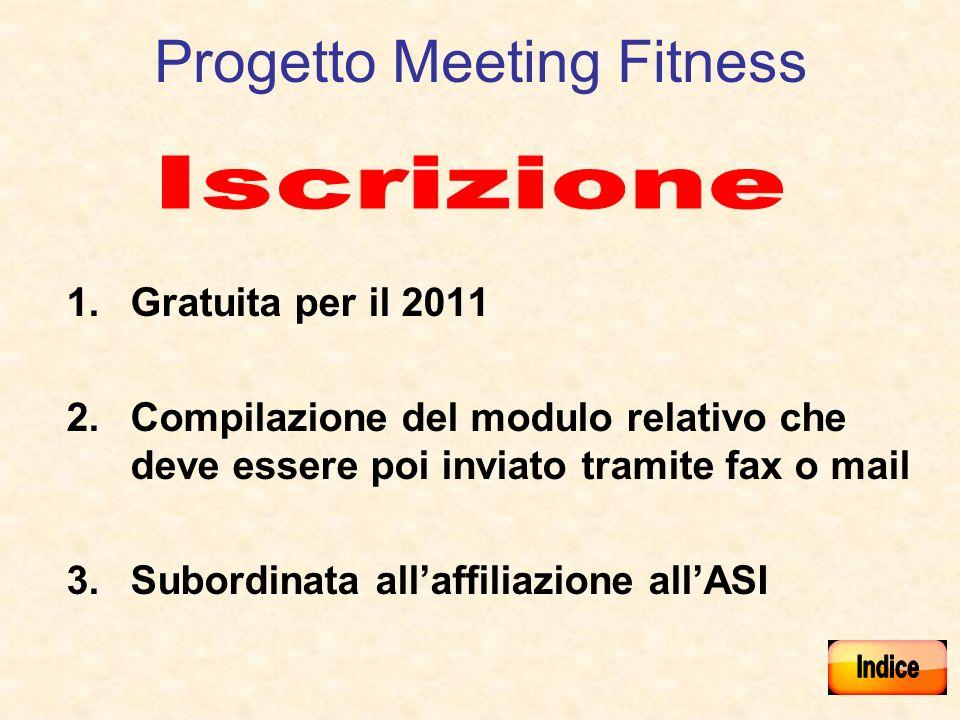 Progetto Meeting Fitness 1.Gratuita per il 2011 2.Compilazione del modulo relativo che deve essere poi inviato tramite fax o mail 3.Subordinata allaffiliazione allASI