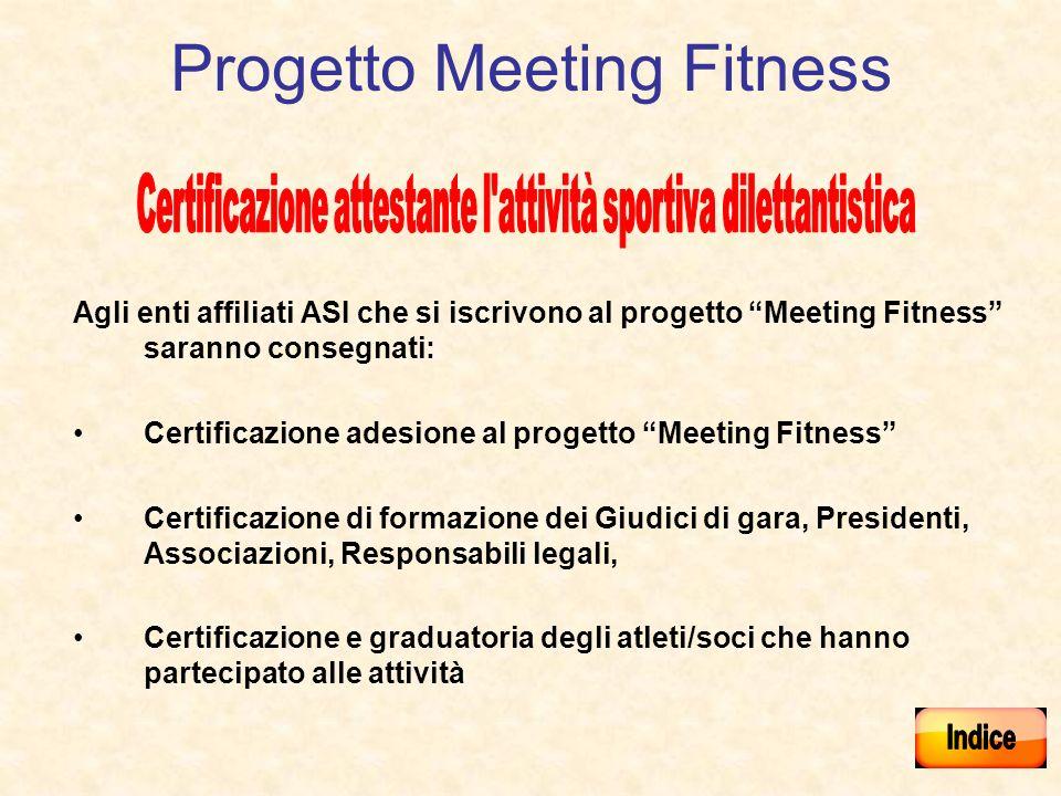 Progetto Meeting Fitness Agli enti affiliati ASI che si iscrivono al progetto Meeting Fitness saranno consegnati: Certificazione adesione al progetto