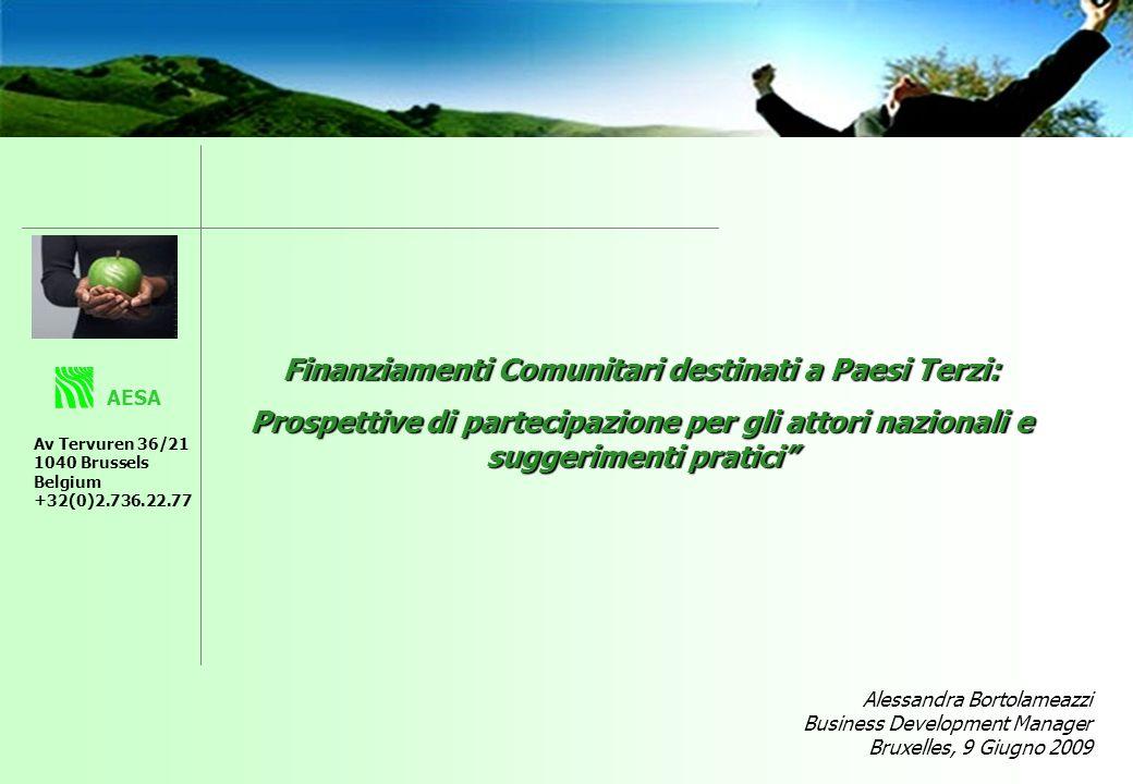 Finanziamenti Comunitari destinati a Paesi Terzi: Prospettive di partecipazione per gli attori nazionali e suggerimenti pratici AESA Av Tervuren 36/21