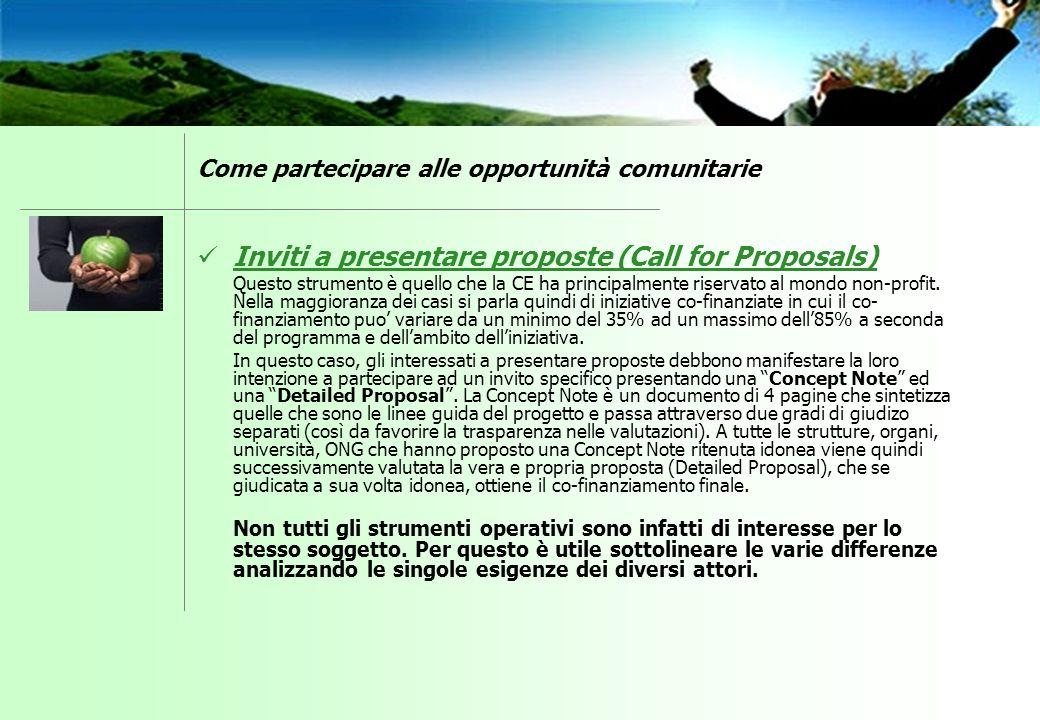 Inviti a presentare proposte (Call for Proposals) Questo strumento è quello che la CE ha principalmente riservato al mondo non-profit. Nella maggioran