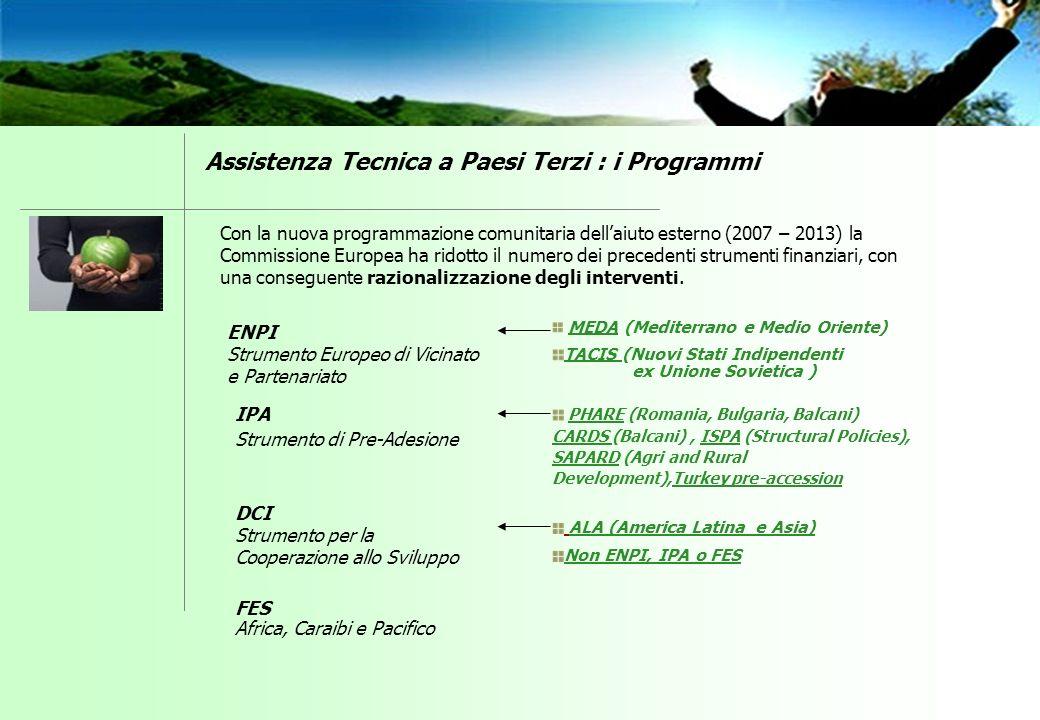PHARE (Romania, Bulgaria, Balcani) CARDS (Balcani), ISPA (Structural Policies), SAPARD (Agri and Rural Development),Turkey pre-accession MEDA (Mediter