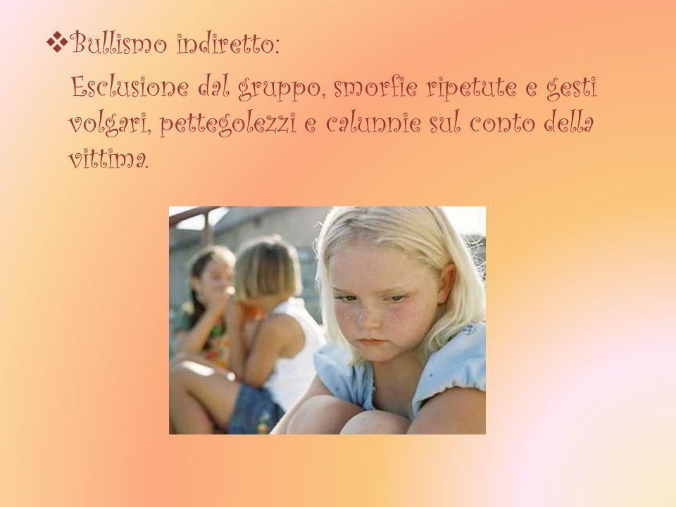 Bullismo indiretto: Esclusione dal gruppo, smorfie ripetute e gesti volgari, pettegolezzi e calunnie sul conto della vittima.