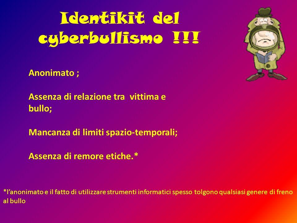 Identikit del cyberbullismo !!! Anonimato ; Assenza di relazione tra vittima e bullo; Mancanza di limiti spazio-temporali; Assenza di remore etiche.*