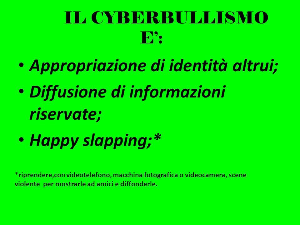 IL CYBERBULLISMO E: Appropriazione di identità altrui; Diffusione di informazioni riservate; Happy slapping;* *riprendere,con videotelefono, macchina