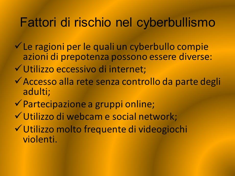 Fattori di rischio nel cyberbullismo Le ragioni per le quali un cyberbullo compie azioni di prepotenza possono essere diverse: Utilizzo eccessivo di i