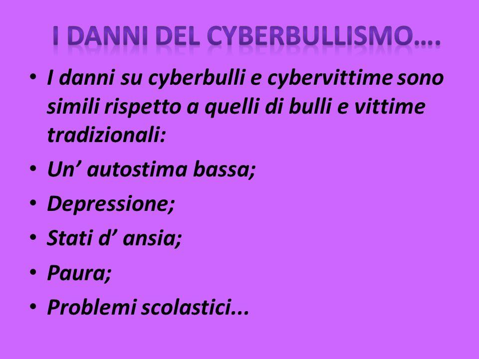 I danni su cyberbulli e cybervittime sono simili rispetto a quelli di bulli e vittime tradizionali: Un autostima bassa; Depressione; Stati d ansia; Paura; Problemi scolastici...