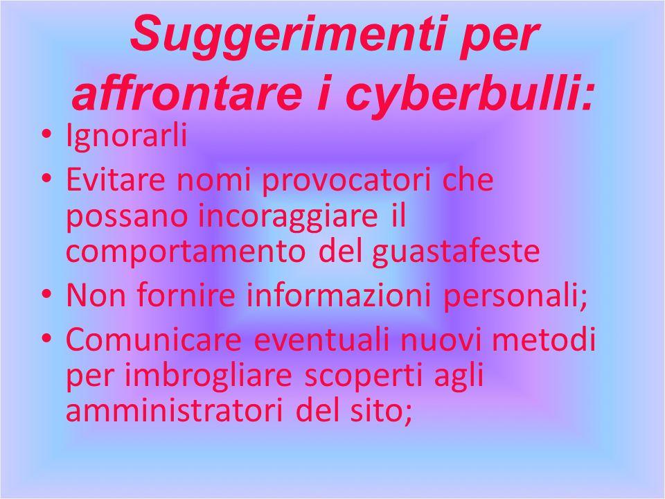 Suggerimenti per affrontare i cyberbulli: Ignorarli Evitare nomi provocatori che possano incoraggiare il comportamento del guastafeste Non fornire inf