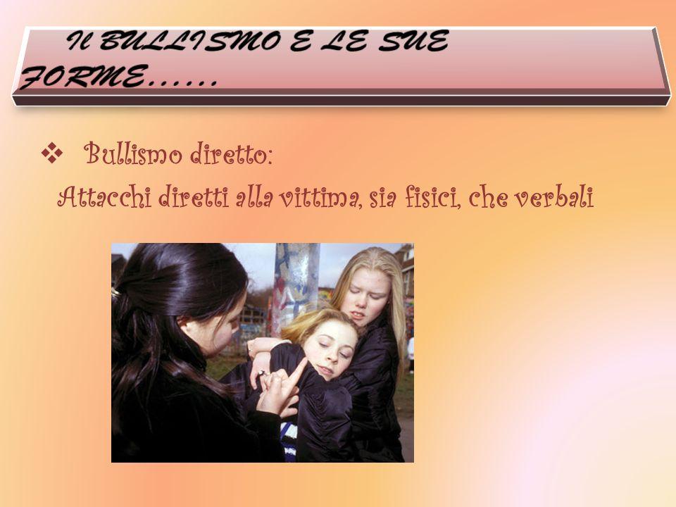 Bullismo diretto: Attacchi diretti alla vittima, sia fisici, che verbali