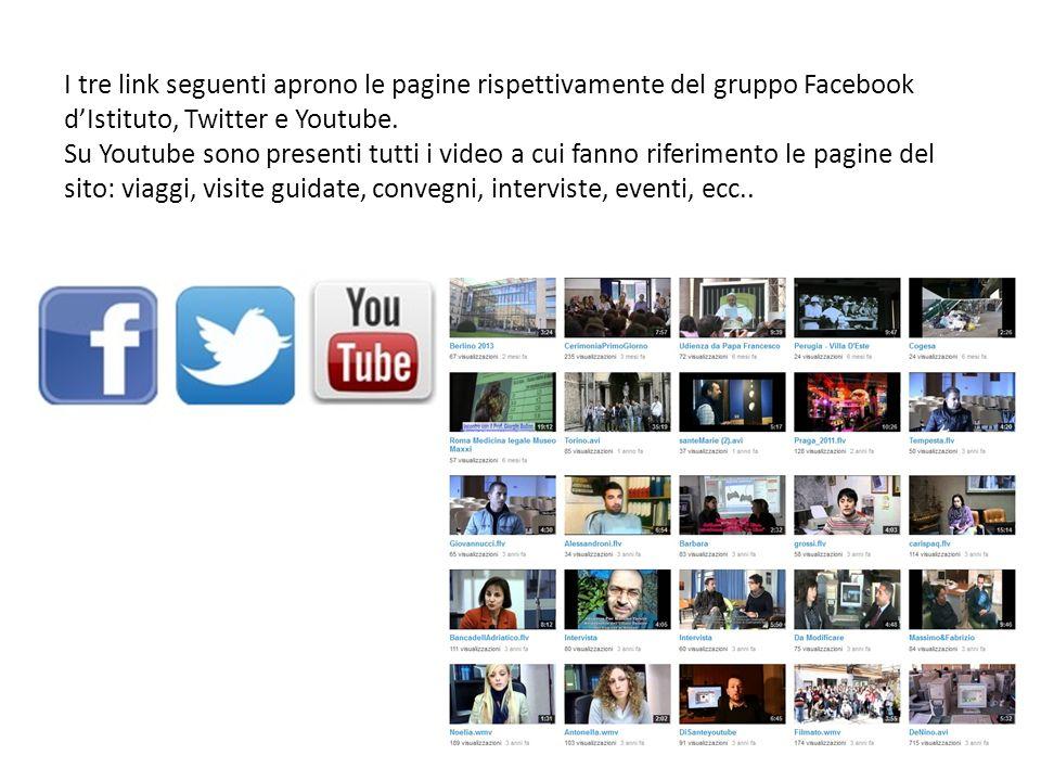 I tre link seguenti aprono le pagine rispettivamente del gruppo Facebook dIstituto, Twitter e Youtube.