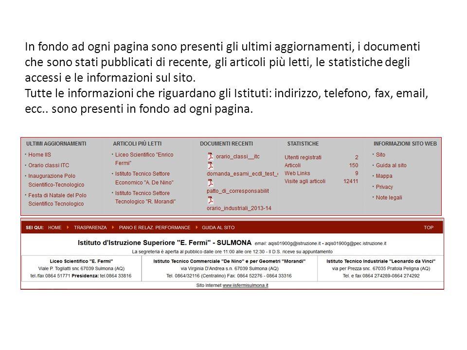 In fondo ad ogni pagina sono presenti gli ultimi aggiornamenti, i documenti che sono stati pubblicati di recente, gli articoli più letti, le statistic