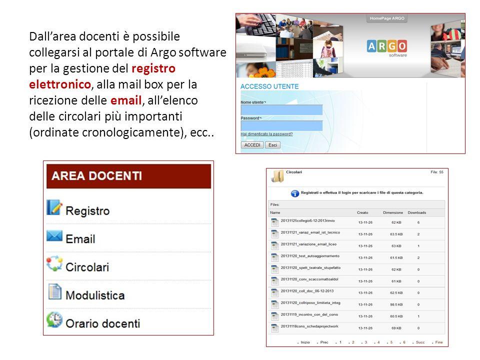 Dallarea docenti è possibile collegarsi al portale di Argo software per la gestione del registro elettronico, alla mail box per la ricezione delle ema