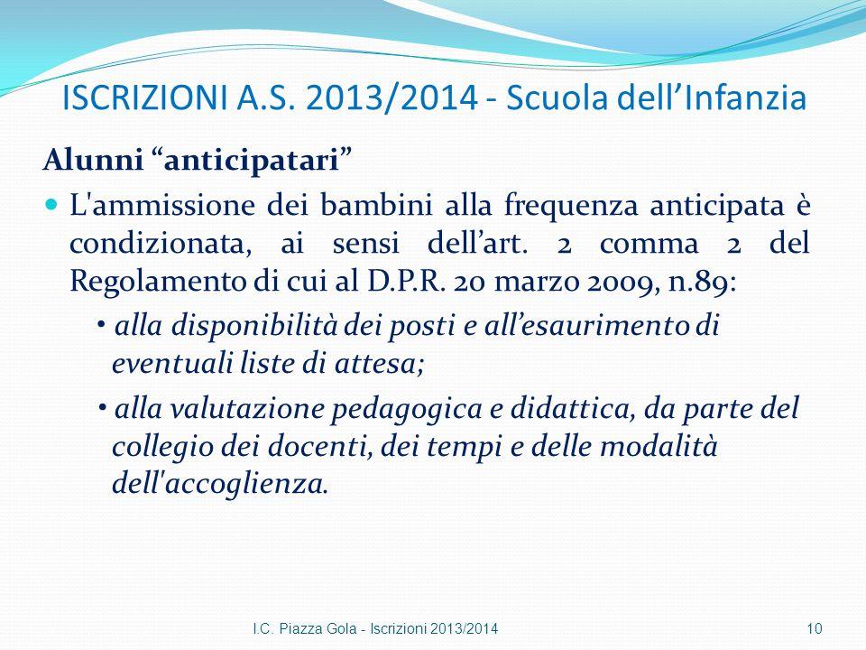 ISCRIZIONI A.S. 2013/2014 - Scuola dellInfanzia Alunni anticipatari L'ammissione dei bambini alla frequenza anticipata è condizionata, ai sensi dellar