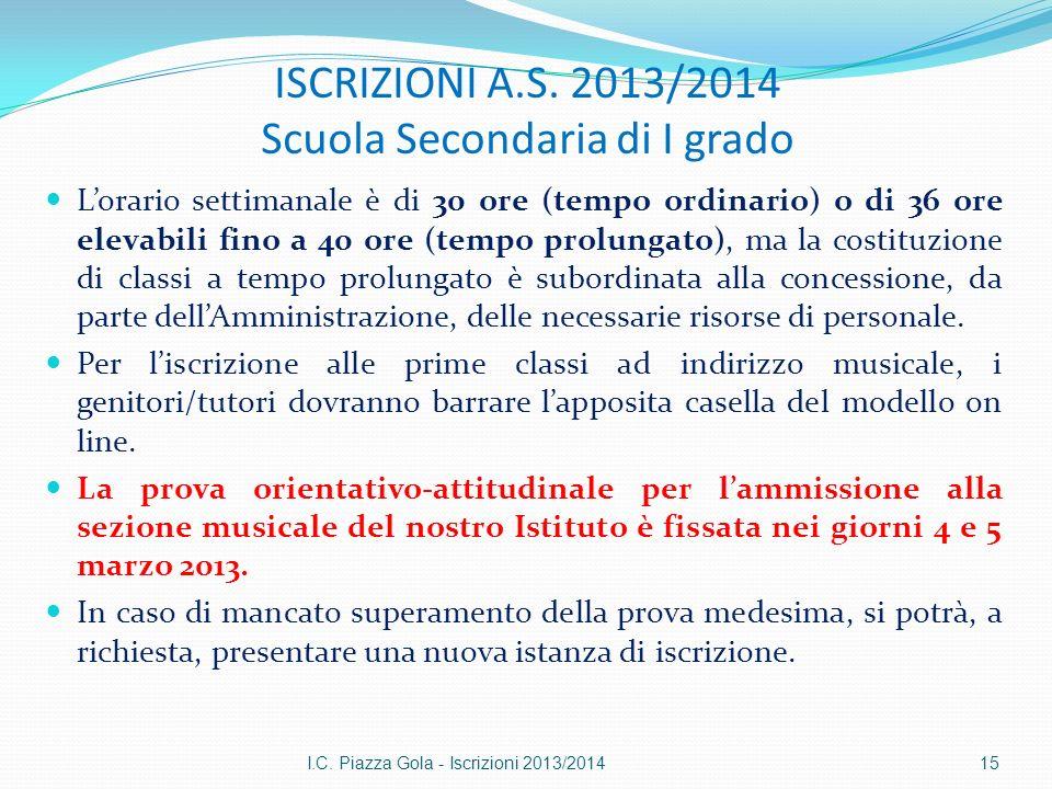 ISCRIZIONI A.S. 2013/2014 Scuola Secondaria di I grado Lorario settimanale è di 30 ore (tempo ordinario) o di 36 ore elevabili fino a 40 ore (tempo pr