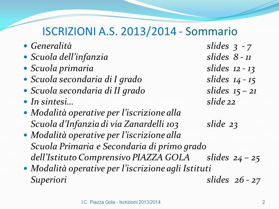 ISCRIZIONI A.S. 2013/2014 - Sommario Generalità slides 3 - 7 Scuola dellinfanzia slides 8 - 11 Scuola primaria slides 12 - 13 Scuola secondaria di I g