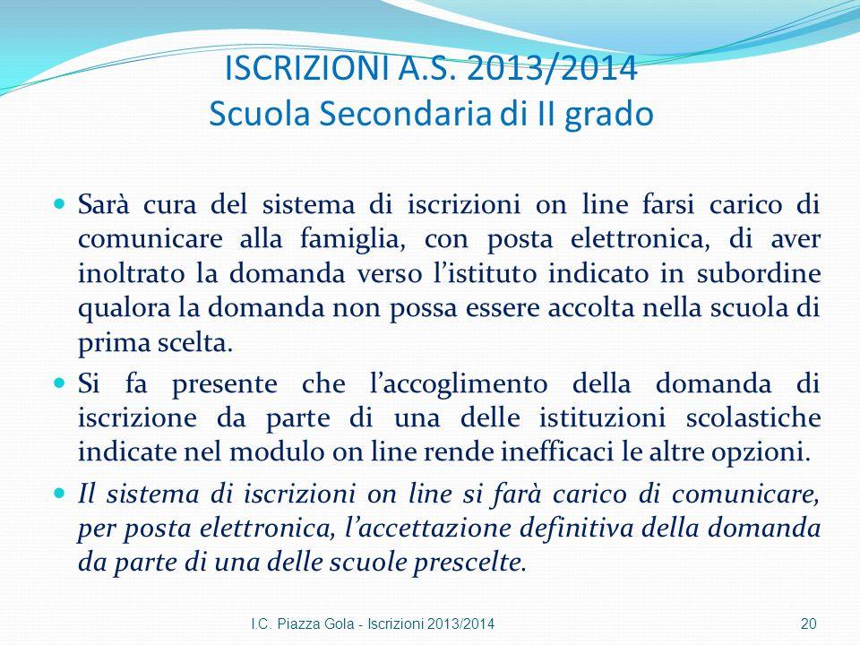 ISCRIZIONI A.S. 2013/2014 Scuola Secondaria di II grado Sarà cura del sistema di iscrizioni on line farsi carico di comunicare alla famiglia, con post
