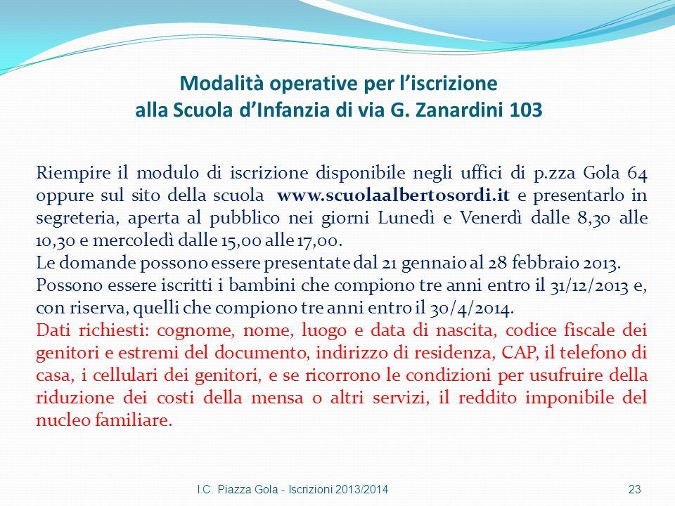 Modalità operative per liscrizione alla Scuola dInfanzia di via G. Zanardini 103 I.C. Piazza Gola - Iscrizioni 2013/201423 Riempire il modulo di iscri