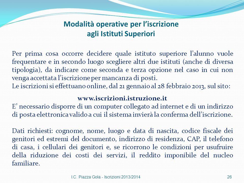 Modalità operative per liscrizione agli Istituti Superiori I.C.