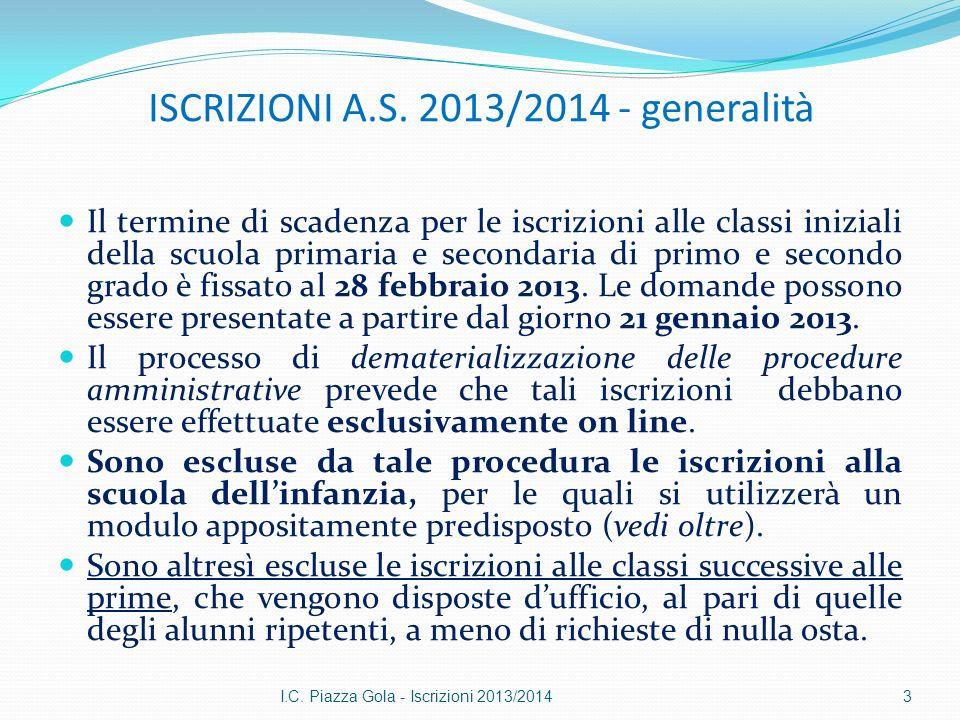 ISCRIZIONI A.S. 2013/2014 - generalità Il termine di scadenza per le iscrizioni alle classi iniziali della scuola primaria e secondaria di primo e sec