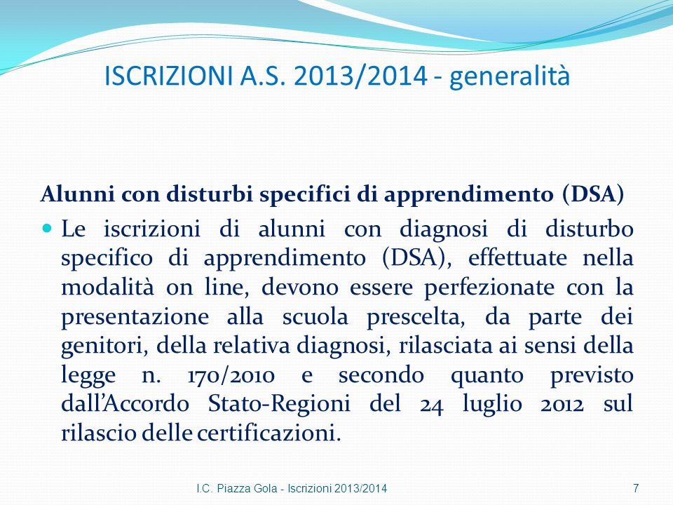 ISCRIZIONI A.S. 2013/2014 - generalità Alunni con disturbi specifici di apprendimento (DSA) Le iscrizioni di alunni con diagnosi di disturbo specifico
