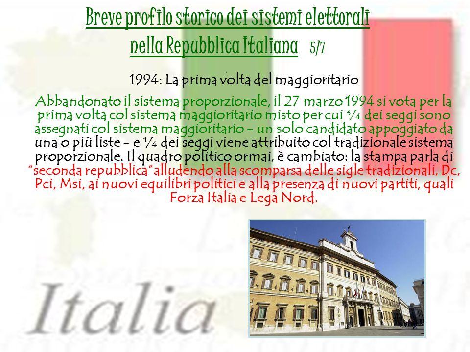 1994: La prima volta del maggioritario Abbandonato il sistema proporzionale, il 27 marzo 1994 si vota per la prima volta col sistema maggioritario mis