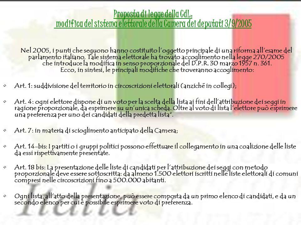 Nel 2005, i punti che seguono hanno costituito loggetto principale di una riforma allesame del parlamento italiano. Tale sistema elettorale ha trovato
