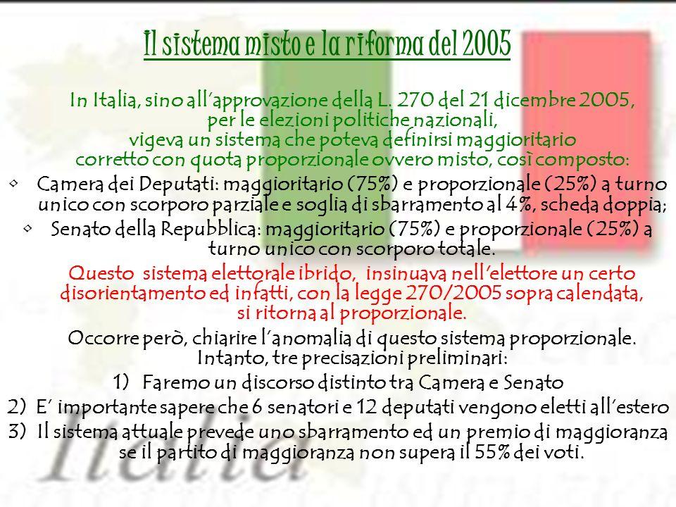 In Italia, sino allapprovazione della L. 270 del 21 dicembre 2005, per le elezioni politiche nazionali, vigeva un sistema che poteva definirsi maggior