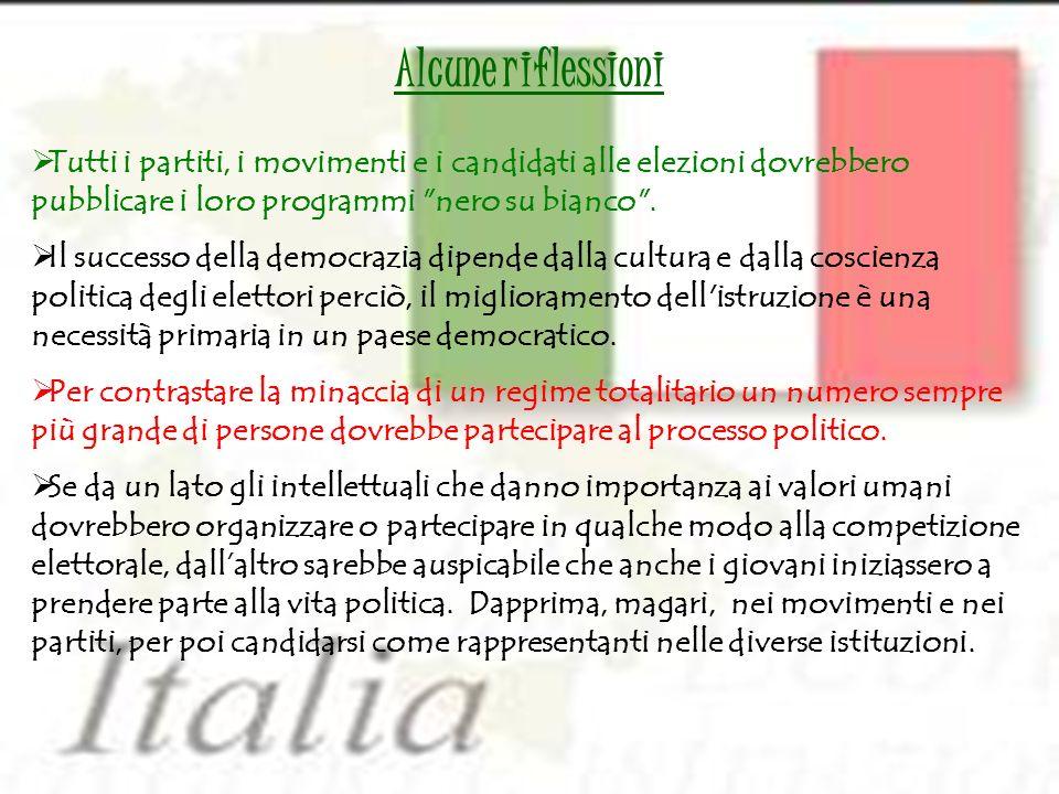 Tutti i partiti, i movimenti e i candidati alle elezioni dovrebbero pubblicare i loro programmi