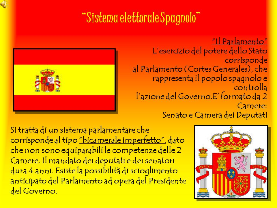 Sistema elettorale Spagnolo Si tratta di un sistema parlamentare che corrisponde al tipo bicamerale imperfetto, dato che non sono equiparabili le comp