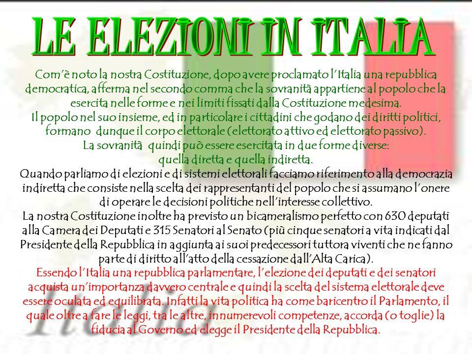 Breve profilo storico dei sistemi elettorali nella Repubblica Italiana 1/7 1948 Bipolarismo proporzionale Il 18 Aprile si tengono le prime elezioni politiche a suffragio universale nella storia d Italia appena diventata Repubblica con il referendum del 1946 e dotata di una Costituzione democratica.