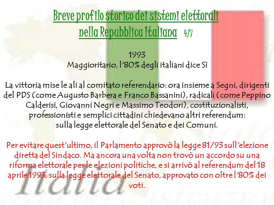 1993 Maggioritario, l'80% degli italiani dice Sì La vittoria mise le ali al comitato referendario: ora insieme a Segni, dirigenti del PDS (come August