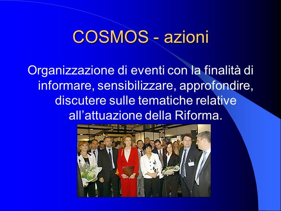 COSMOS - azioni Organizzazione di eventi con la finalità di informare, sensibilizzare, approfondire, discutere sulle tematiche relative allattuazione della Riforma.