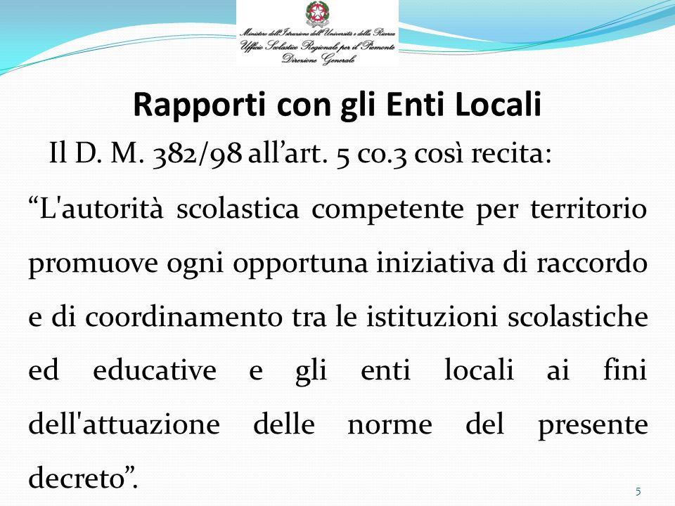 Rapporti con gli Enti Locali Il D. M. 382/98 allart.