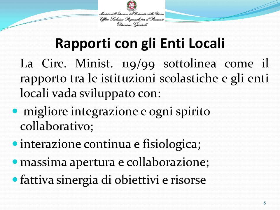 Rapporti con gli Enti Locali La Circ. Minist.