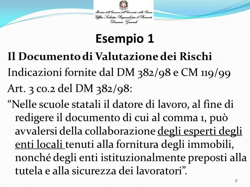Esempio 1 Il Documento di Valutazione dei Rischi CM 119/99: B) Valutazione dei rischi: stesura del documento …………..collaborazione, questa, ovviamente subordinata alla disponibilità dei citati Enti ed Associazioni, non costituendo per loro un obbligo di legge.