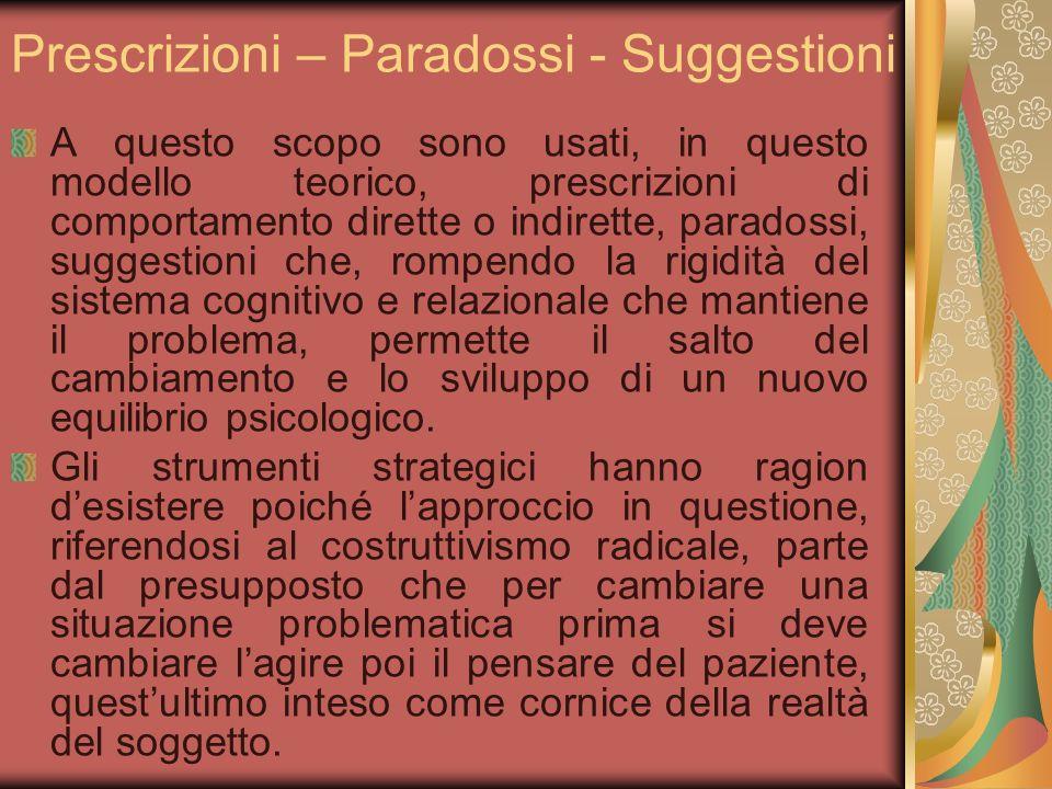 Prescrizioni – Paradossi - Suggestioni A questo scopo sono usati, in questo modello teorico, prescrizioni di comportamento dirette o indirette, parado