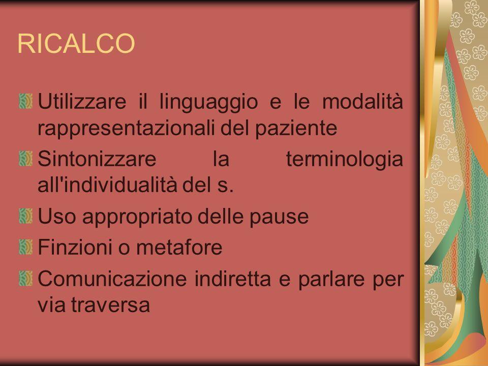 RICALCO Utilizzare il linguaggio e le modalità rappresentazionali del paziente Sintonizzare la terminologia all'individualità del s. Uso appropriato d