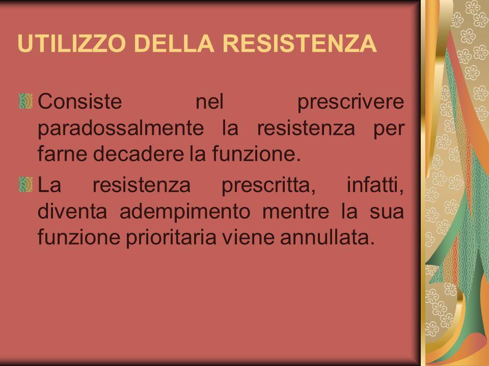 UTILIZZO DELLA RESISTENZA Consiste nel prescrivere paradossalmente la resistenza per farne decadere la funzione. La resistenza prescritta, infatti, di