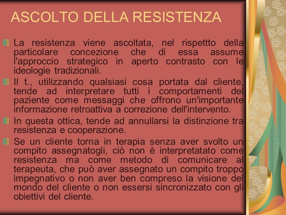 ASCOLTO DELLA RESISTENZA La resistenza viene ascoltata, nel rispettto della particolare concezione che di essa assume l'approccio strategico in aperto