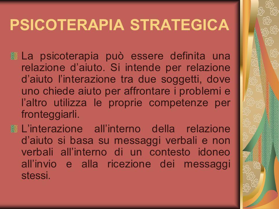PSICOTERAPIA STRATEGICA La psicoterapia può essere definita una relazione daiuto. Si intende per relazione daiuto linterazione tra due soggetti, dove