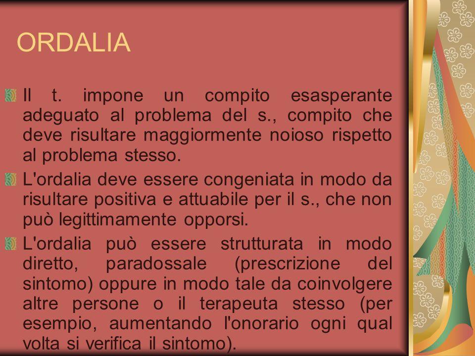 ORDALIA Il t. impone un compito esasperante adeguato al problema del s., compito che deve risultare maggiormente noioso rispetto al problema stesso. L