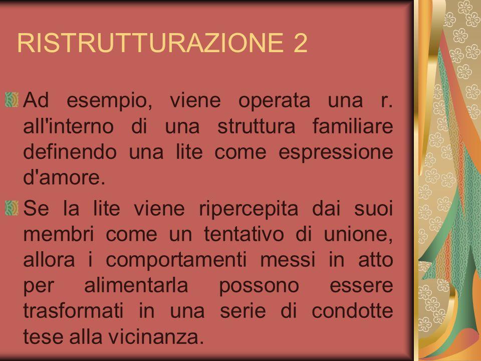 RISTRUTTURAZIONE 2 Ad esempio, viene operata una r. all'interno di una struttura familiare definendo una lite come espressione d'amore. Se la lite vie