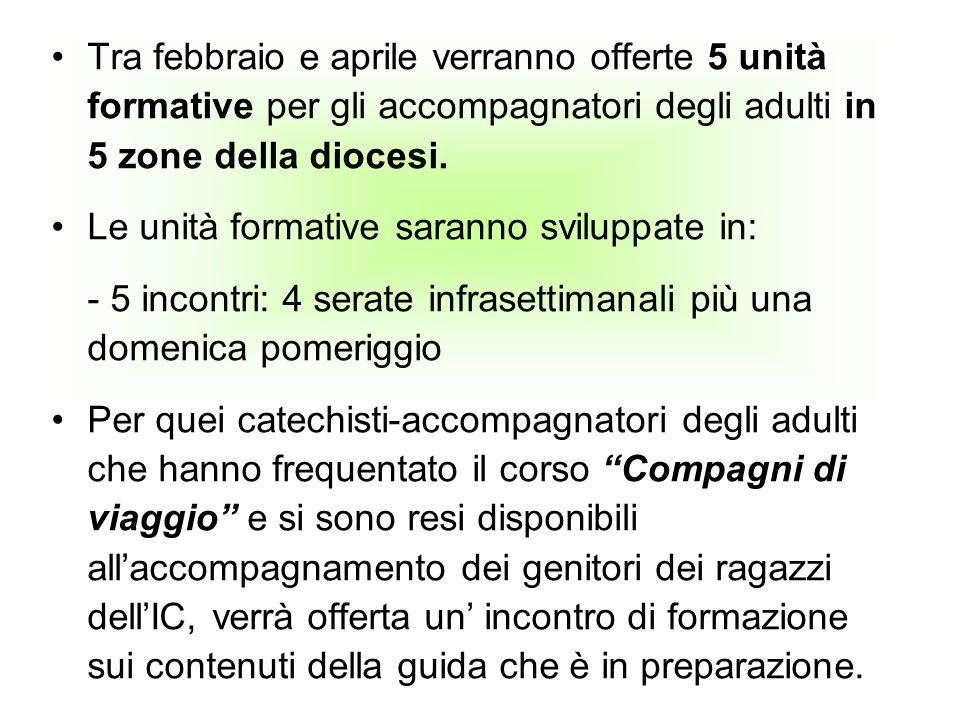 Tra febbraio e aprile verranno offerte 5 unità formative per gli accompagnatori degli adulti in 5 zone della diocesi. Le unità formative saranno svilu