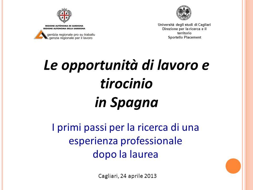 Le opportunità di lavoro e tirocinio in Spagna I primi passi per la ricerca di una esperienza professionale dopo la laurea Università degli studi di C