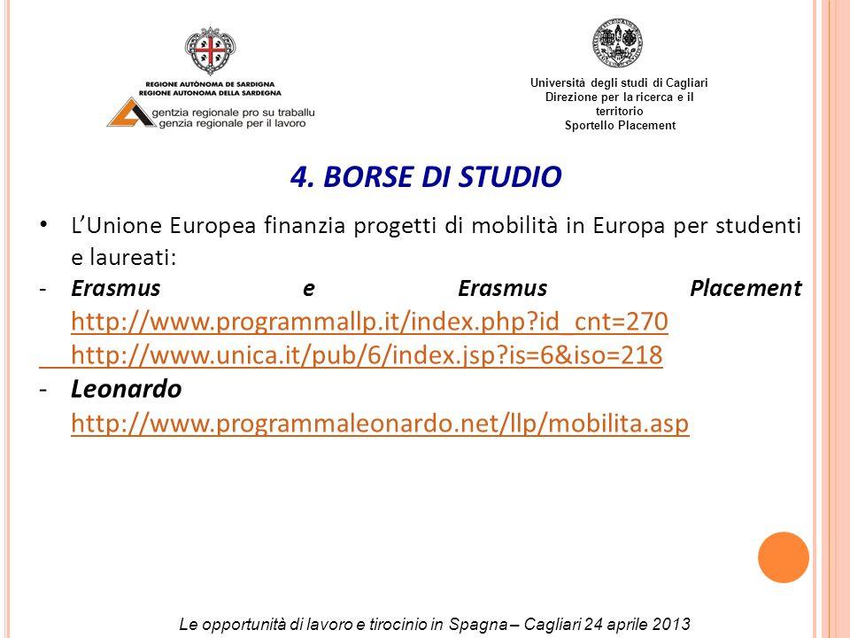 Università degli studi di Cagliari Direzione per la ricerca e il territorio Sportello Placement 4. BORSE DI STUDIO LUnione Europea finanzia progetti d