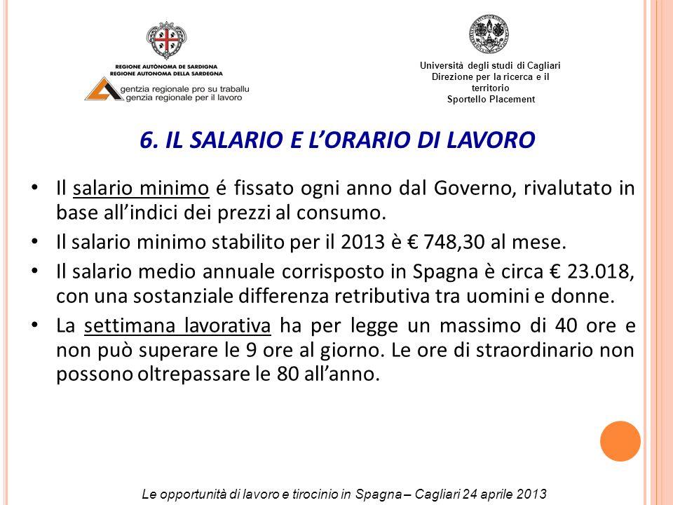 Università degli studi di Cagliari Direzione per la ricerca e il territorio Sportello Placement 6. IL SALARIO E LORARIO DI LAVORO Il salario minimo é