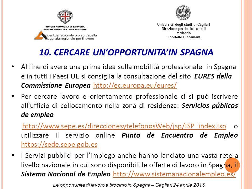 Università degli studi di Cagliari Direzione per la ricerca e il territorio Sportello Placement 10. CERCARE UNOPPORTUNITAIN SPAGNA Al fine di avere un
