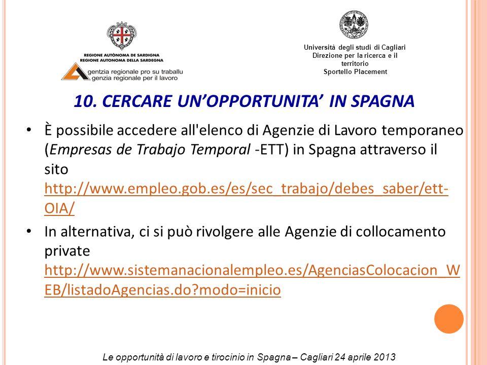 Università degli studi di Cagliari Direzione per la ricerca e il territorio Sportello Placement Le opportunità di lavoro e tirocinio in Spagna – Cagli